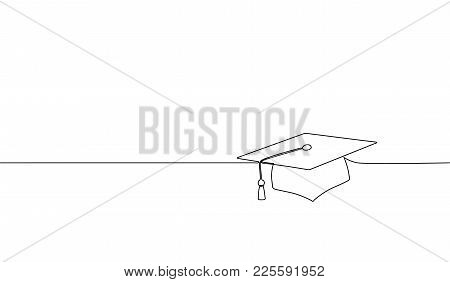 Single Continuous Line Art Graduation Cap. Celebration Ceremony Master Degree Academy Graduate Desig