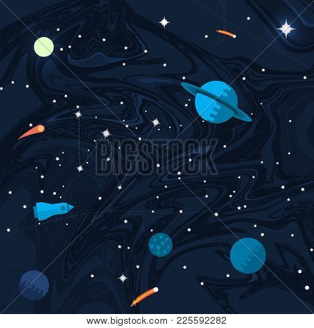 Space Flat Background With Planets And Stars. Vector Illustration