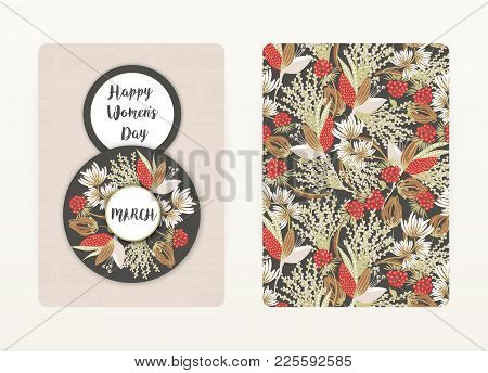8 March. Happy Women's Day. Spring Holiday. Card Design With Floral Pattern. Creative Hand Drawn Col
