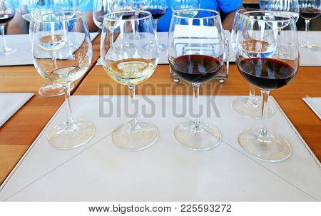 Wine Tasting Glasses With Different Wine For Tasting, Chile