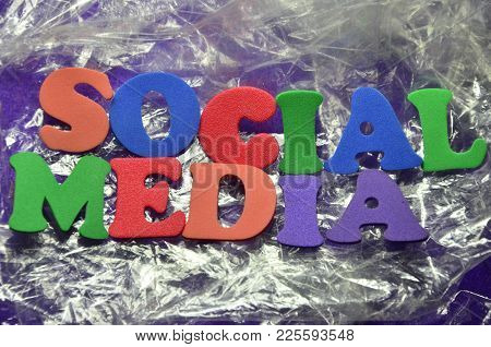 Word Social Media On An   Abstract Colored Background