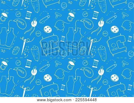 Pattern For Sewing Concept.  Doodle Hand Drawn Elements On Blue Background.