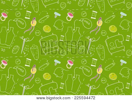 Pattern For Sewing Concept.  Doodle Hand Drawn Elements On Green Background.