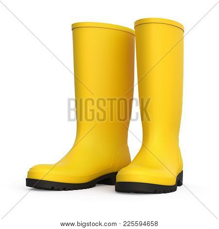 A pair of yellow rain boots isolated on white background 3D rendering