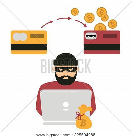 Hacker Thief With Notebook And Bitcoin Cryptocurrency. Web Unsafe Security Concept. Swindler Try To