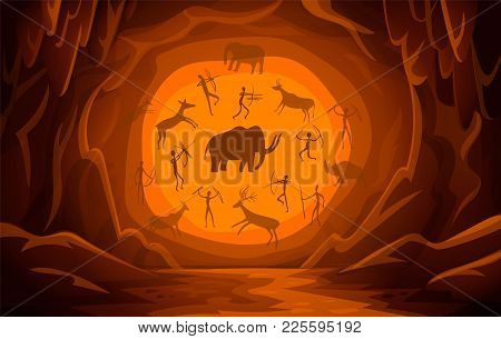 Prehistoric Cave With Cave Drawings. Cartoon Mountain Scene Background Primitive Cave Paintings. Anc