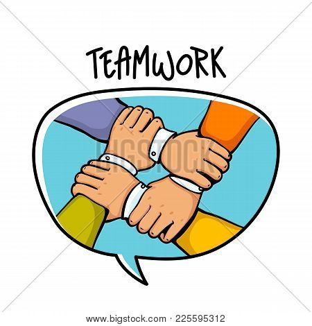 Team Building Concept. Stack Of Business Hands. Cooperation Teamwork, Group, Partnership, Team Buidd