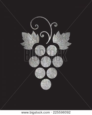 Silver Textured Grapes Logo. Luxury Wine Or Vine Logotype Icon. Brand Design Element For Organic Win