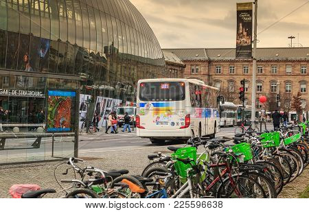 Strasbourg, France - December 28, 2017 : Bus Is Stopped At A Red Traffic Light In Front Of Strasbour