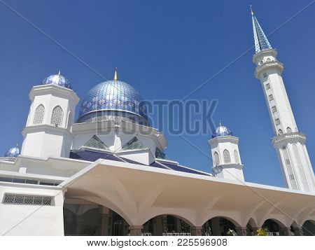 Blue doom mosque in Penang, Malaysia