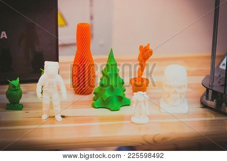 Bright Colorful Objects Printed By A 3d Printer Close-up. Progressive Modern Additive Technology. Co