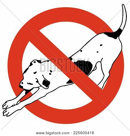 No Entry Dogs. Prohibition Of Dog. Strict Ban On Walking The Dog, Forbidden. Stop Animals. Vector Bl