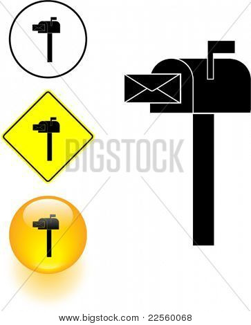 mailbox symbol sign and button