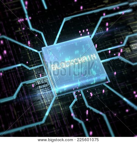 Abstract Cyber Space With Blue Glowing Chip And Streaming Sparkles And Word Blockchain On It. 3d Ren