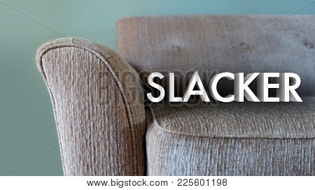 Slacker Lazy Couch Relaxation Word 3d Illustration