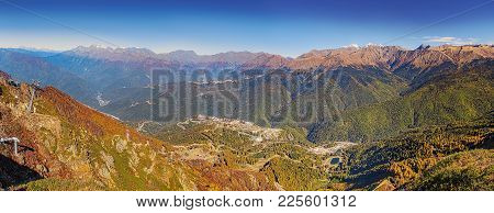 Mountain Ranges On A Clear Autumn Day. Sochi, Russia.