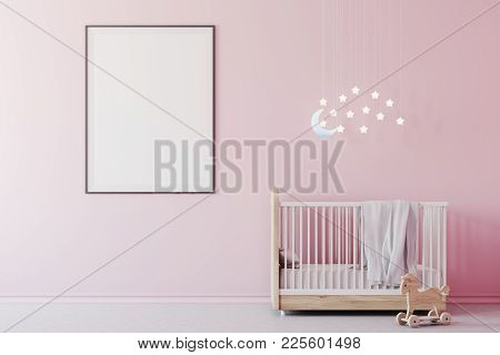 Nursery Interior With Pink Walls, A Concrete Floor, A Cradle With The Moon And Stars Above It And A