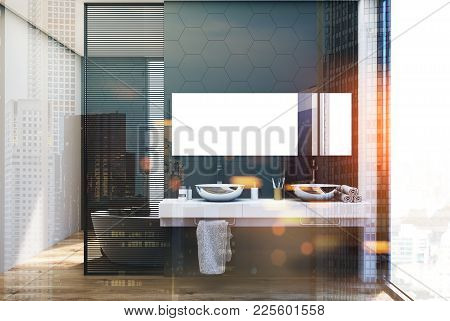 Gray Hexagon Tile Bathroom Inteiror With A Double Sink With A Long Horizontal Mirror Above It And A