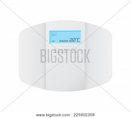 Modern Programmable Thermostat On White Background, Vector Design, Eps10