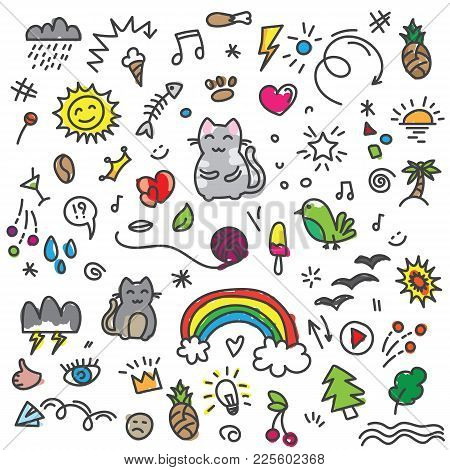Hand Painted Colored Cat, Birds, Rainbow, Sun And Other Art Elements On Doodle Pattern. Colorful Doo