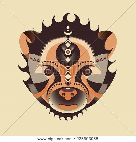 Ethnic Animal. Tribal Patterned Bear. Bear Head. Geometry Bear Head - Vector Illustration