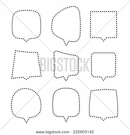Speech Or Thought Bubbles Of Different Shapes And Sizes. Creative Simple Chat Balloons Set Of Outlin