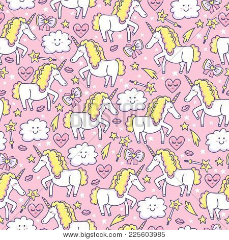 I Love Unicorn. Magical Seamless Pattern For Baby With Unicorns, Clouds, Hearts, Stars, Lips, Bow An