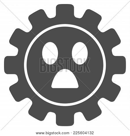 Gear Wonder Smiley Vector Pictograph. Style Is Flat Graphic Grey Symbol.