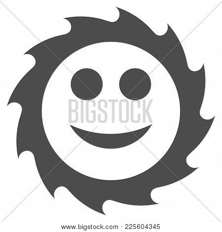 Circular Blade Smile Vector Pictogram. Style Is Flat Graphic Gray Symbol.