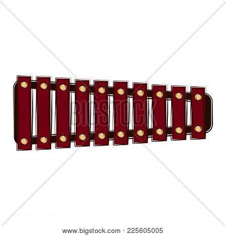 Sketch Of A Xylophone. Musical Instrument. Vector Illustration Design
