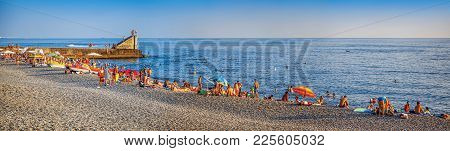 Panorama Of The Beach Of Phasotron. Sochi, Russia.