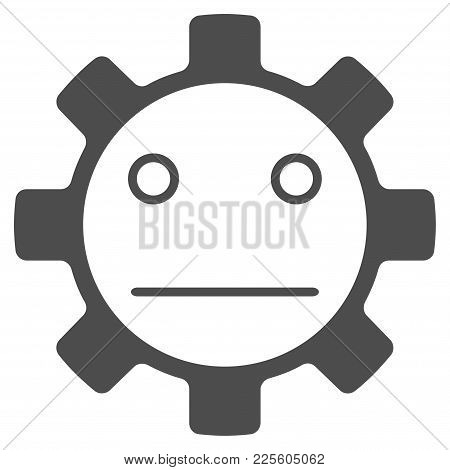 Gear Neutral Smiley Vector Icon. Style Is Flat Graphic Grey Symbol.