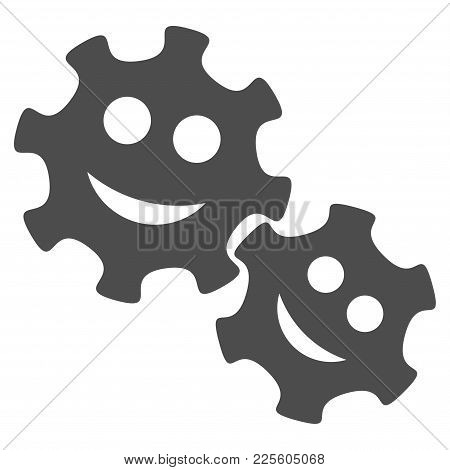 Happy Gears Vector Pictogram. Style Is Flat Graphic Gray Symbol.