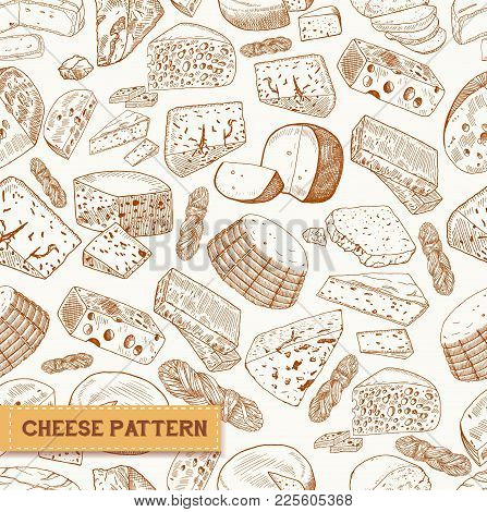 Seamless Pattern Of Cheese, Milk Product Sketches. Mimolette And Asiago, Chechil Or Sulguni, Cheddar