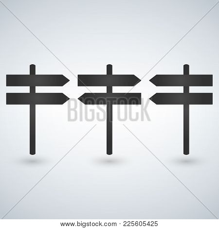 Signpost Vector Icon, Flat Design, Isolated On White Background