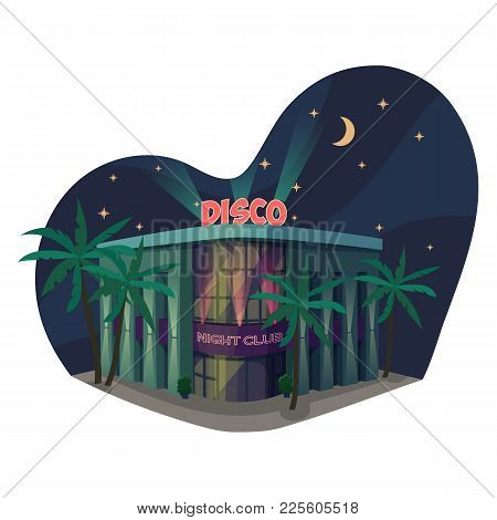 Nightclub Or Dancing Club Outdoor Exterior View With Palms Near Entrance And Sky With Moon And Stars