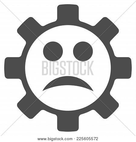 Service Gear Sad Smiley Vector Pictogram. Style Is Flat Graphic Gray Symbol.