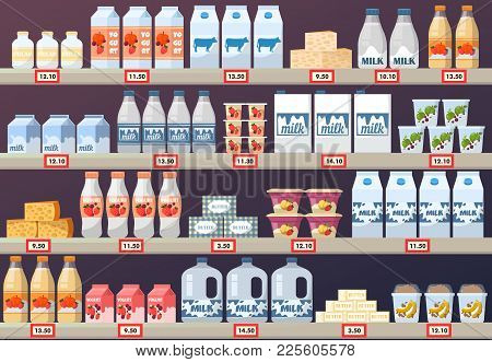 Market Stall Or Stand Milk In Paper Pack And Yogurt, Cream And Cheese, Butter. Shop Or Store, Mall S