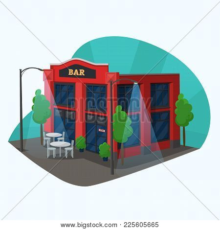 Bar Side Street View Or Building For Sale Or Trading Alcohol Or Booze, Beverages. Construction With