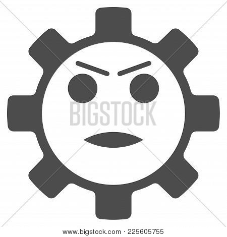 Gear Angry Smiley Vector Pictogram. Style Is Flat Graphic Grey Symbol.