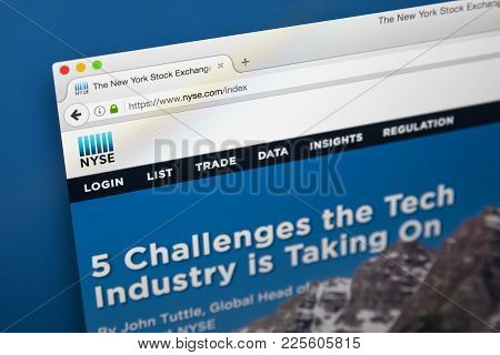 London, Uk - August 7th 2017: The Homepage Of The Official Website For The New York Stock Exchange,
