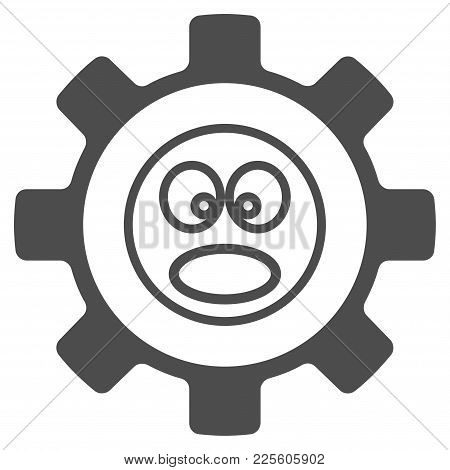 Service Gear Shout Smiley Vector Icon. Style Is Flat Graphic Gray Symbol.