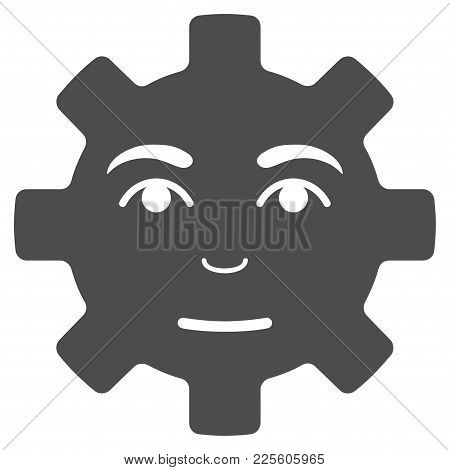 Service Gear Smile Vector Pictogram. Style Is Flat Graphic Gray Symbol.