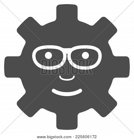 Service Gear Glad Smile Vector Pictograph. Style Is Flat Graphic Grey Symbol.