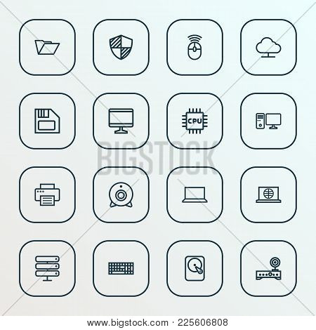 Hardware Icons Line Style Set With Diskette, Mouse, Print And Other Peripheral  Elements. Isolated V
