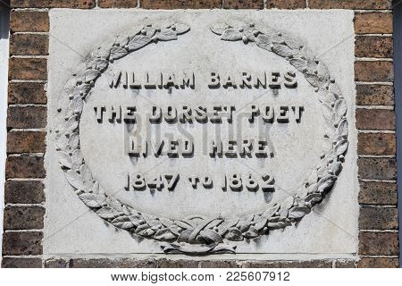 A Plaque Marking The Location Where Dorset Poet William Barnes Once Lived, On South Street In Dorche