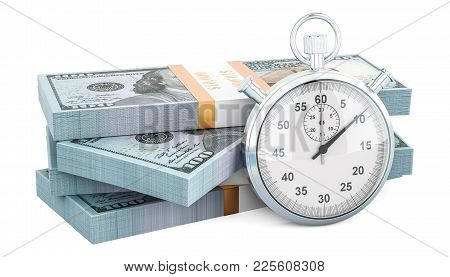 Dollar Packs With Stopwatch, Make Money Concept. 3d Rendering Isolated On White Background