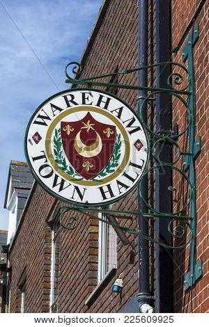 Dorset, Uk - August 16th 2017: A Sign Above The Entrance To Wareham Town Hall In Dorset, Uk, On 16th
