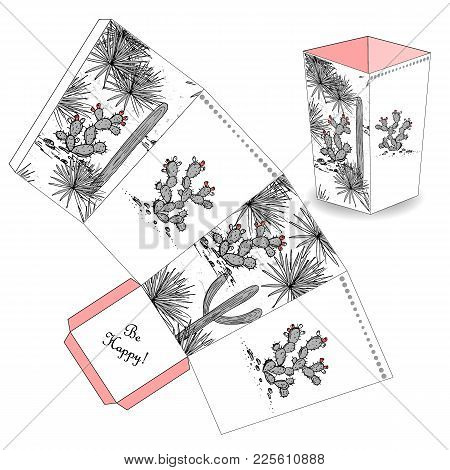 Cute Popcorn Box With Hand Drawn Sketch Cactus, Prickly Pear, And Saguaro. Favor, Gift Box. Just Pri