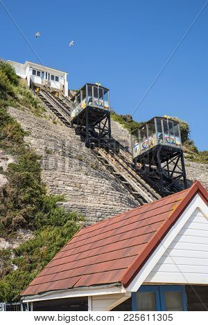 Bournemouth, Uk - August 16th 2017: The East Cliff Railway On Bournemouth Seafront In Dorset, Uk, On